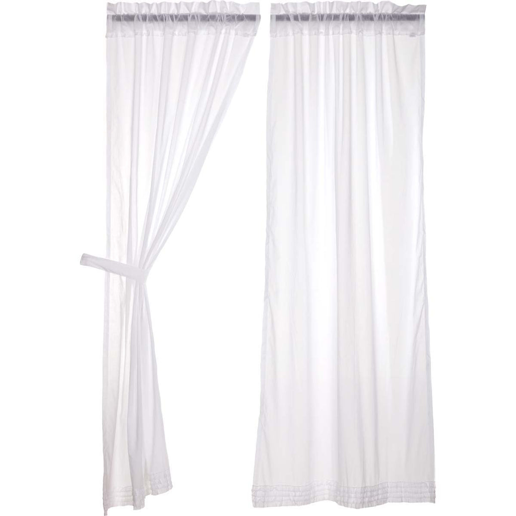 White Ruffled Sheer Panel Set of 2 84x40