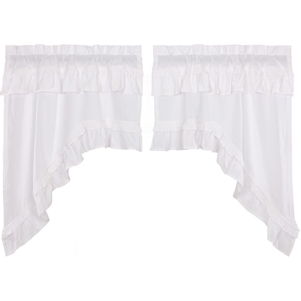 Muslin Ruffled Bleached White Swag Set of 2 36x36x16
