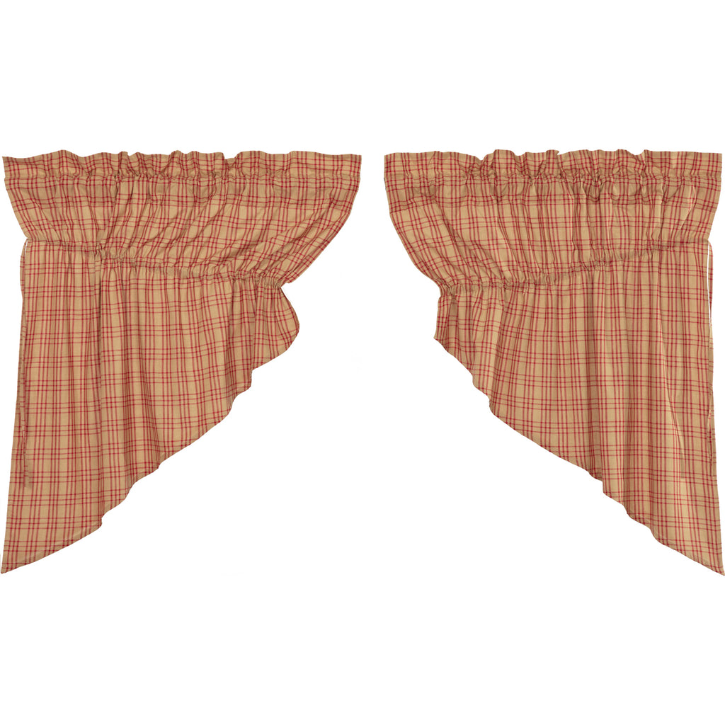 Sawyer Mill Red Plaid Prairie Swag Set of 2 36x36x18