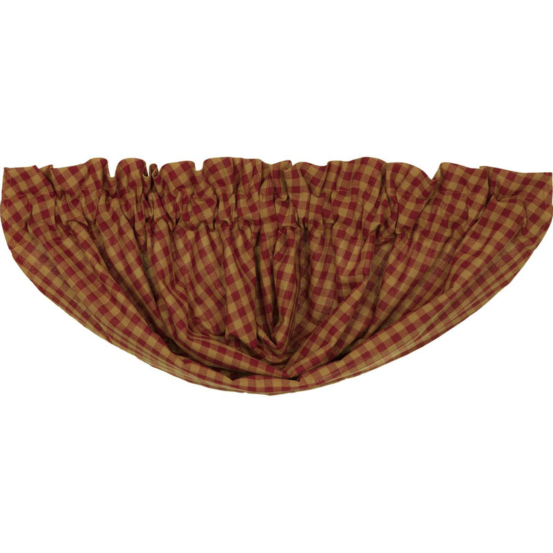 Burgundy Check Balloon Valance 15x60