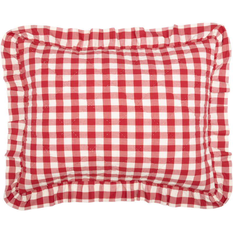 Annie Buffalo Red Check Ruffled Standard Sham 21x27