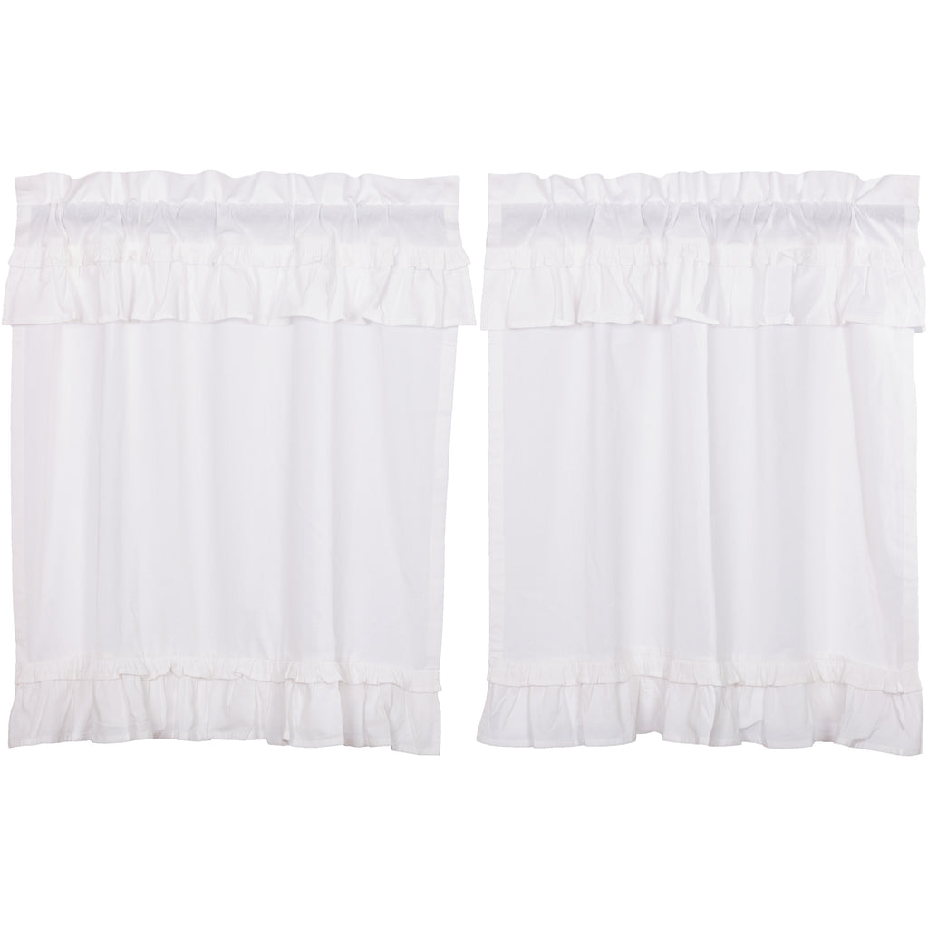 Muslin Ruffled Bleached White Tier Set of 2 L36xW36