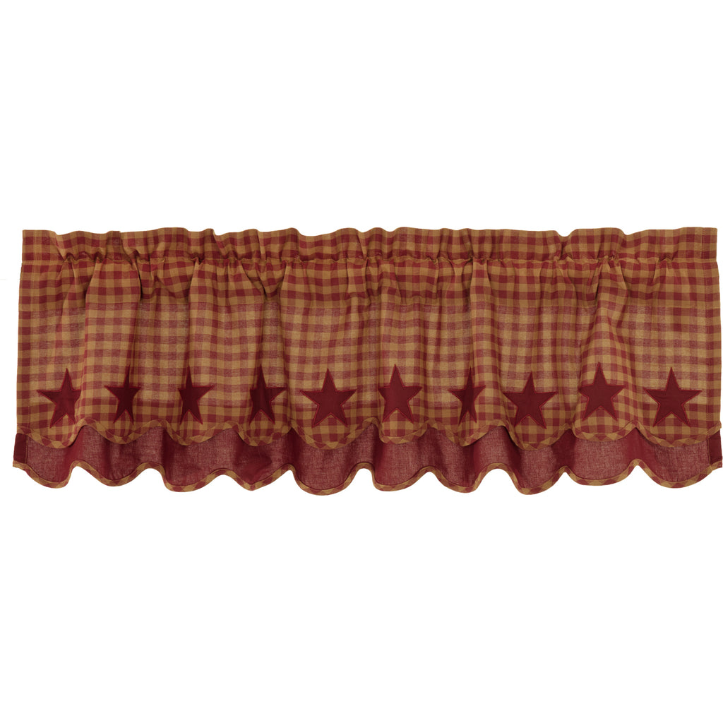 Burgundy Star Scalloped Layered Valance 16x60
