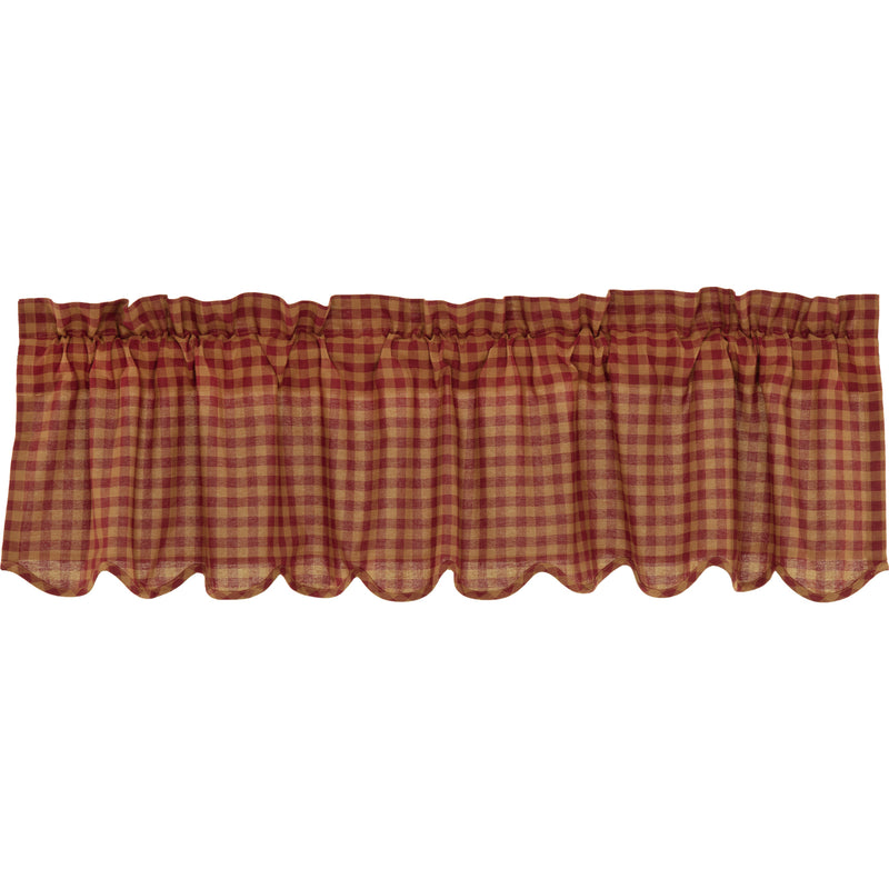 Burgundy Check Scalloped Valance 16x60