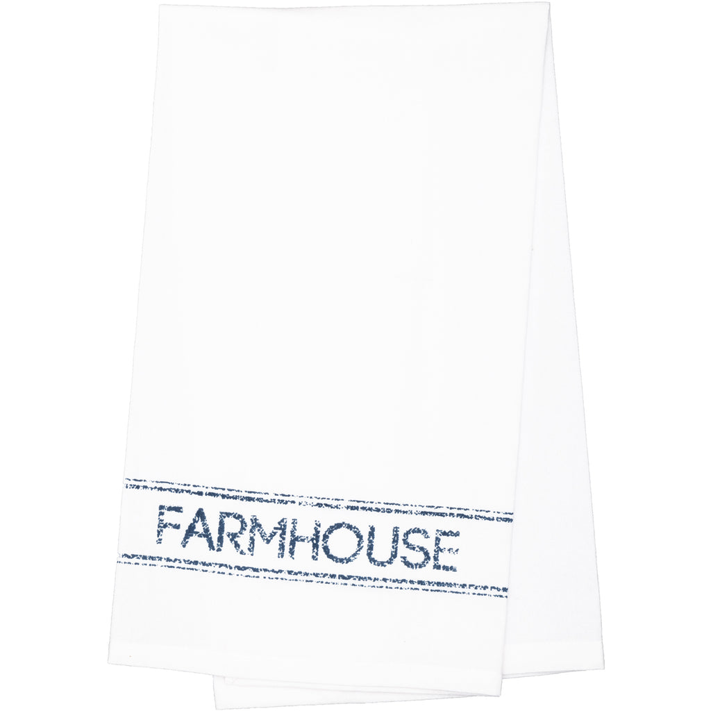 Sawyer Mill Blue Farmhouse Muslin Bleached White Tea Towel 19x28