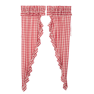 Annie Buffalo Red Check Ruffled Prairie Long Panel Set of 2 84x36x18