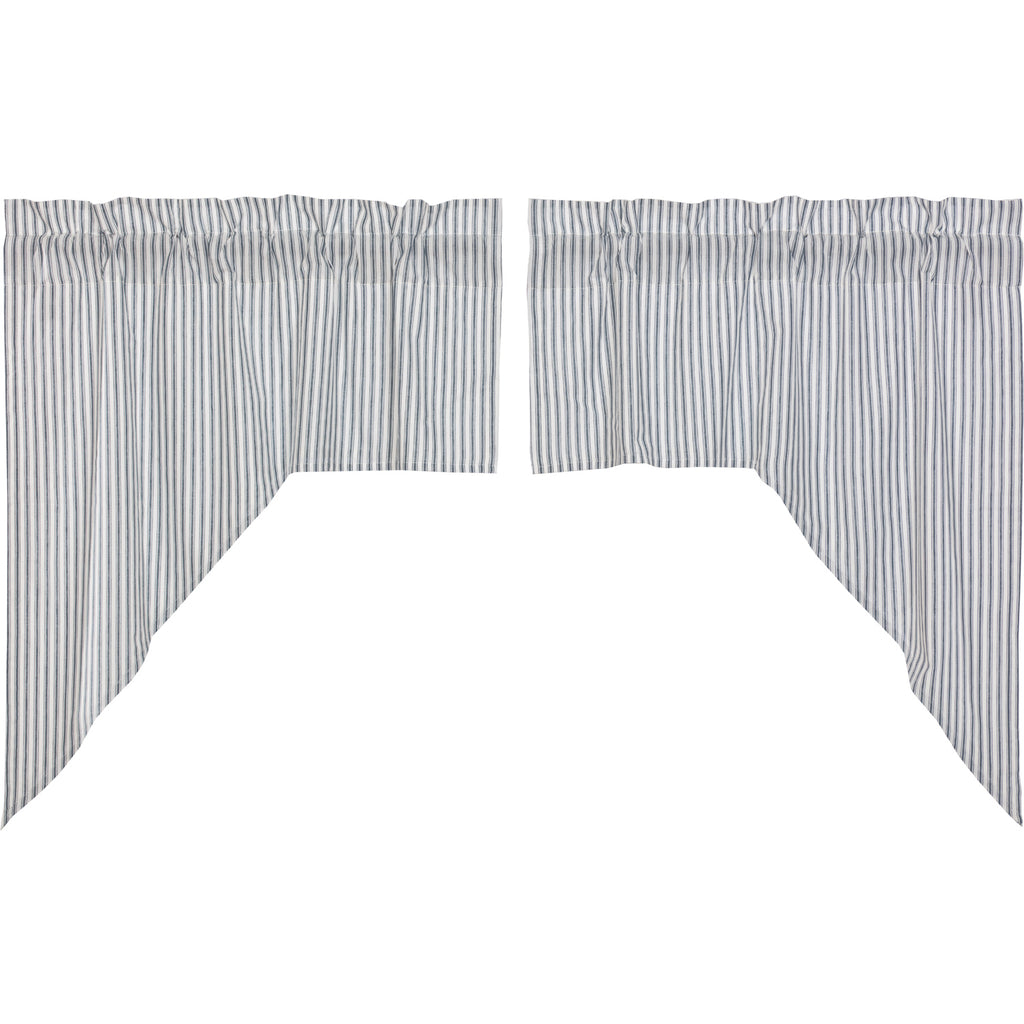 Sawyer Mill Blue Ticking Stripe Swag Set of 2 36x36x16