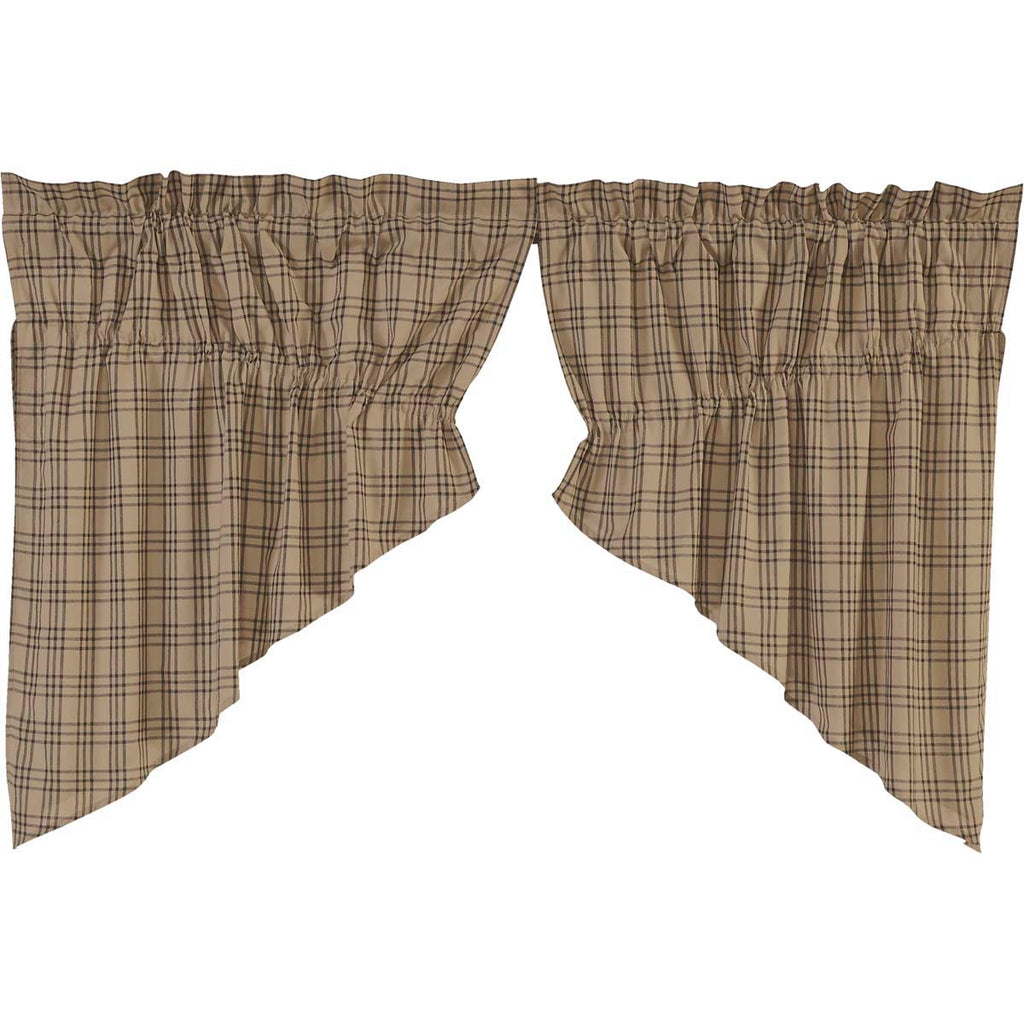 Sawyer Mill Charcoal Plaid Prairie Swag Set of 2 36x36x18