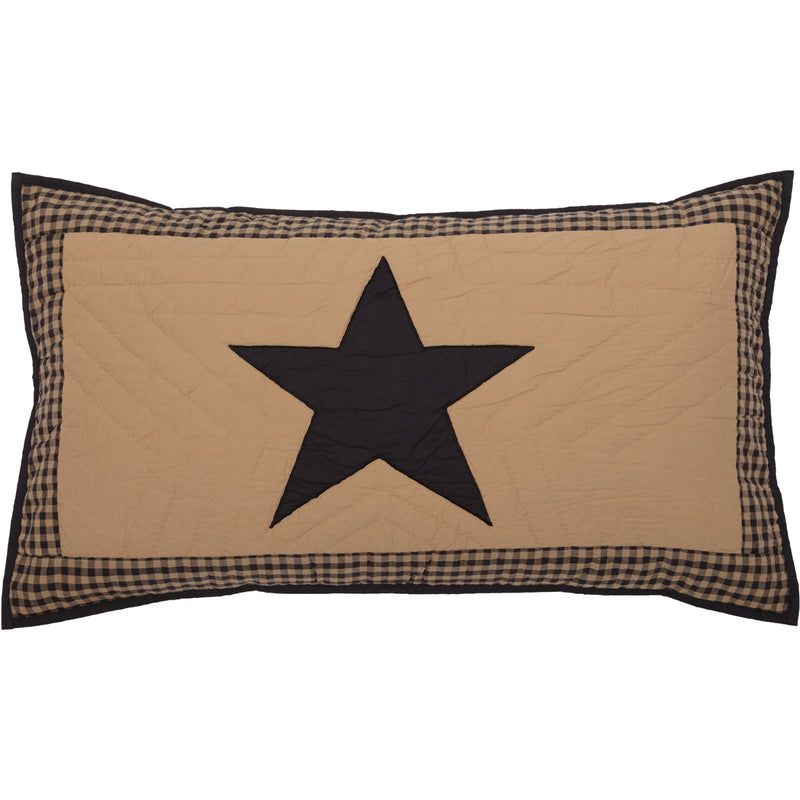 Black Check Star King Sham 21x37