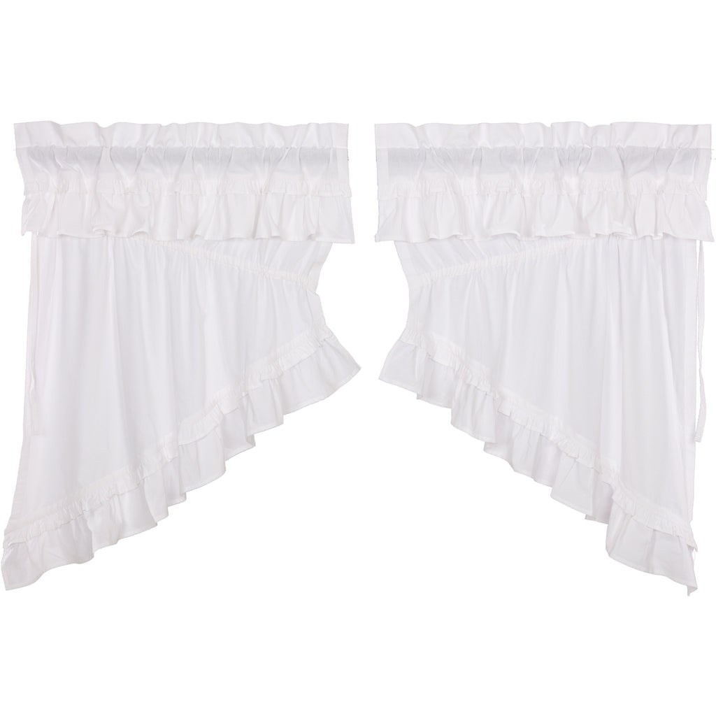 Muslin Ruffled Bleached White Prairie Swag Set of 2 36x36x18