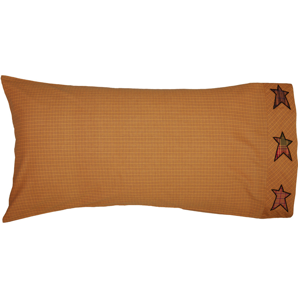 Stratton King Pillow Case w/Applique Star Set of 2 21x40
