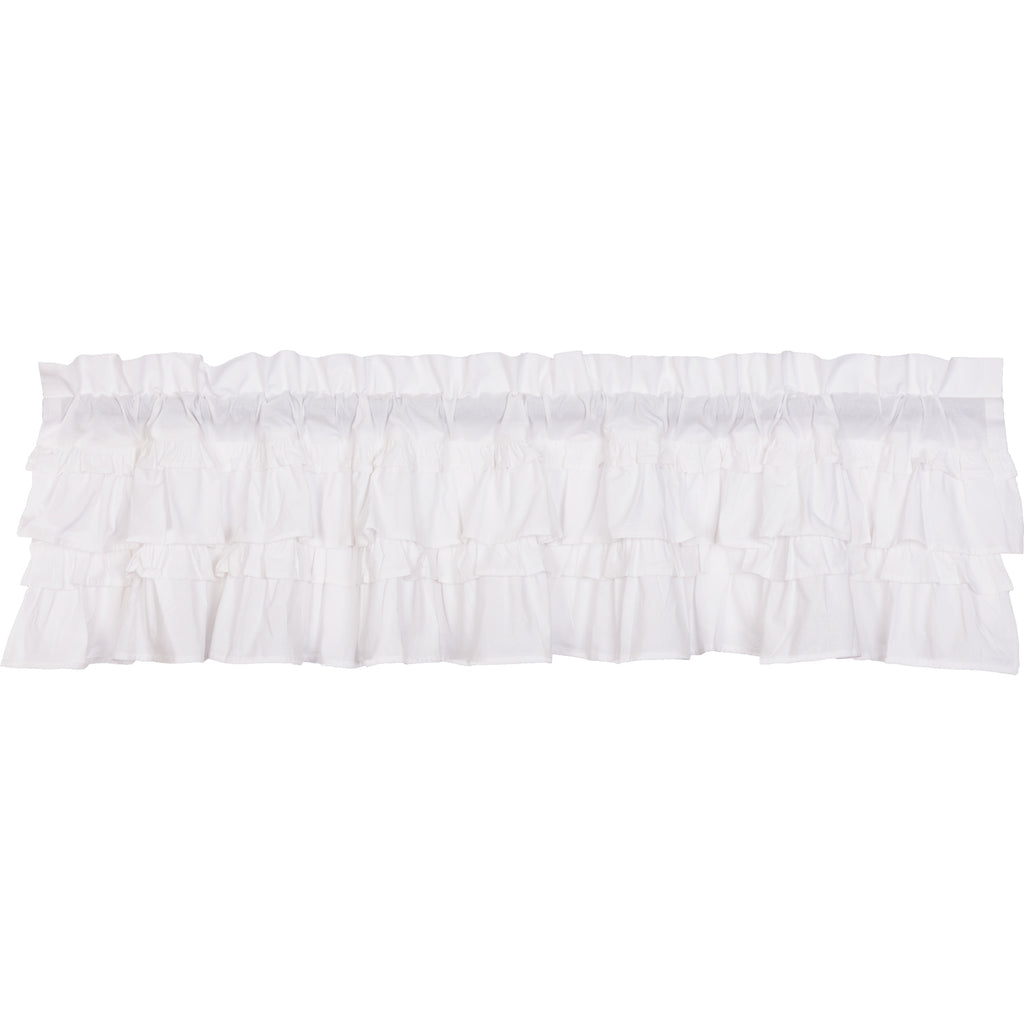 Muslin Ruffled Bleached White Valance 16x72