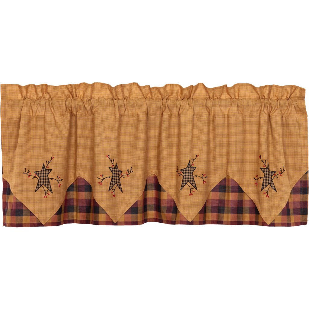 Details about  /VHC Heritage Farms Primitive Check Valance Curtain 16 x 72