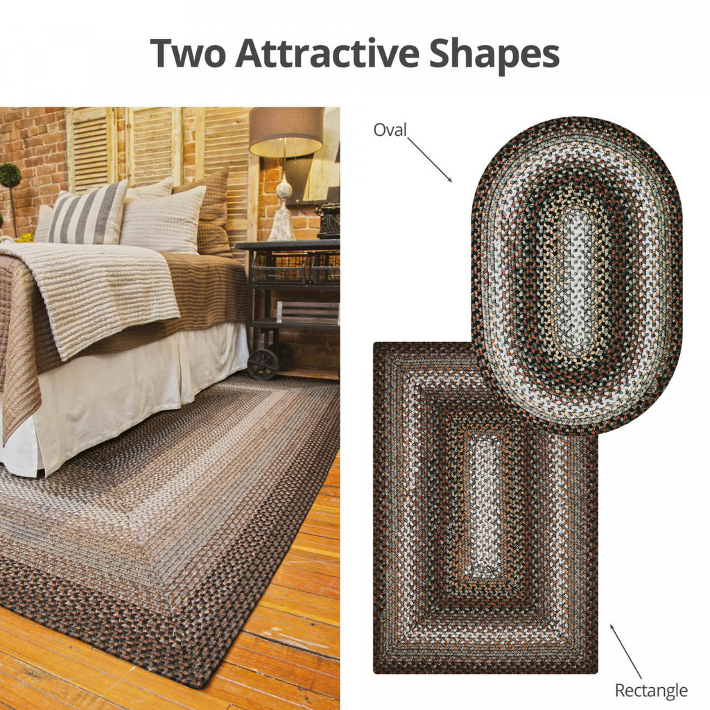 Midnight Moon Brown - Grey Ultra Durable Braided Rug Collection