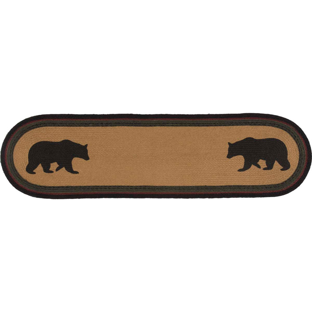 Wyatt Stenciled Bear Jute Runner Oval 13x48