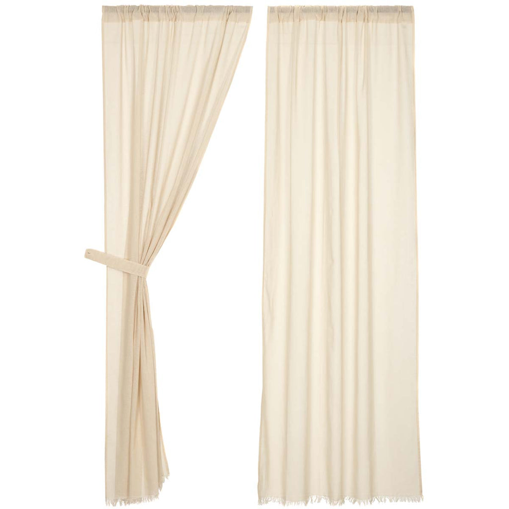 Tobacco Cloth Natural Panel Fringed Set of 2 84x40