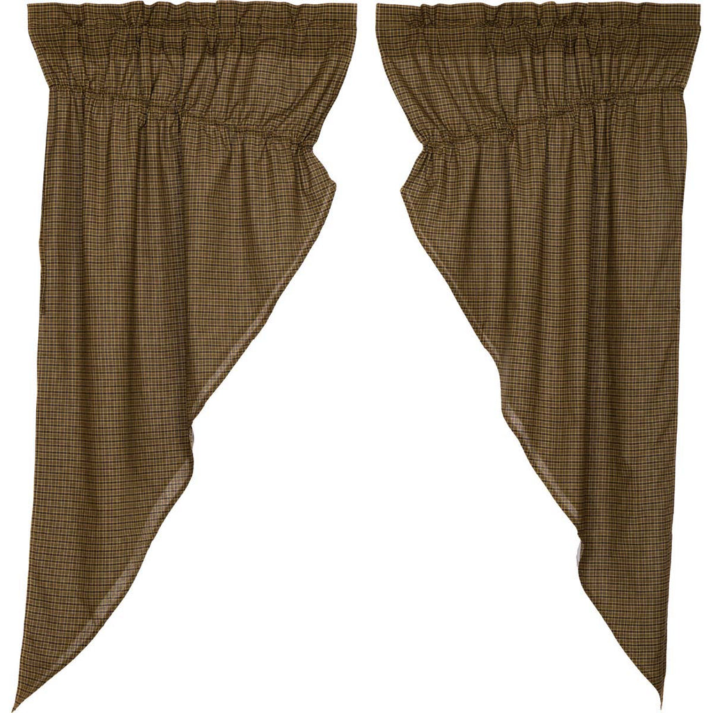 Tea Cabin Green Plaid Prairie Short Panel Set of 2 63x36x18