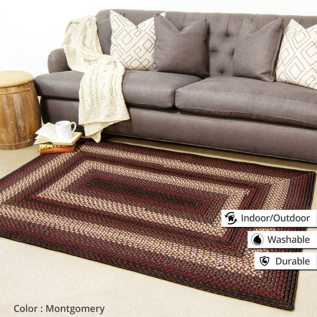 Montgomery Black - Burgundy Ultra Durable Braided Rug Collection