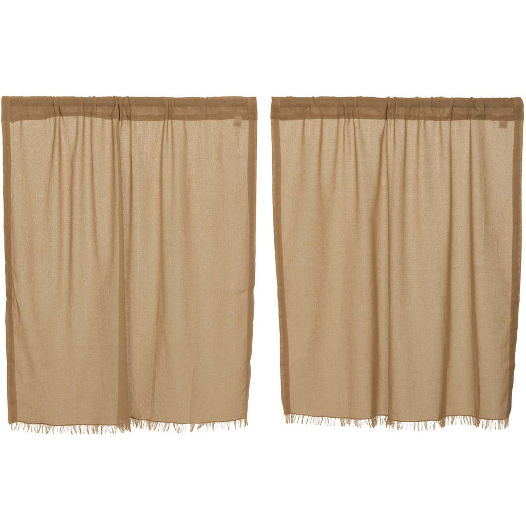 Tobacco Cloth Khaki Tier Fringed Set of 2 L36xW36