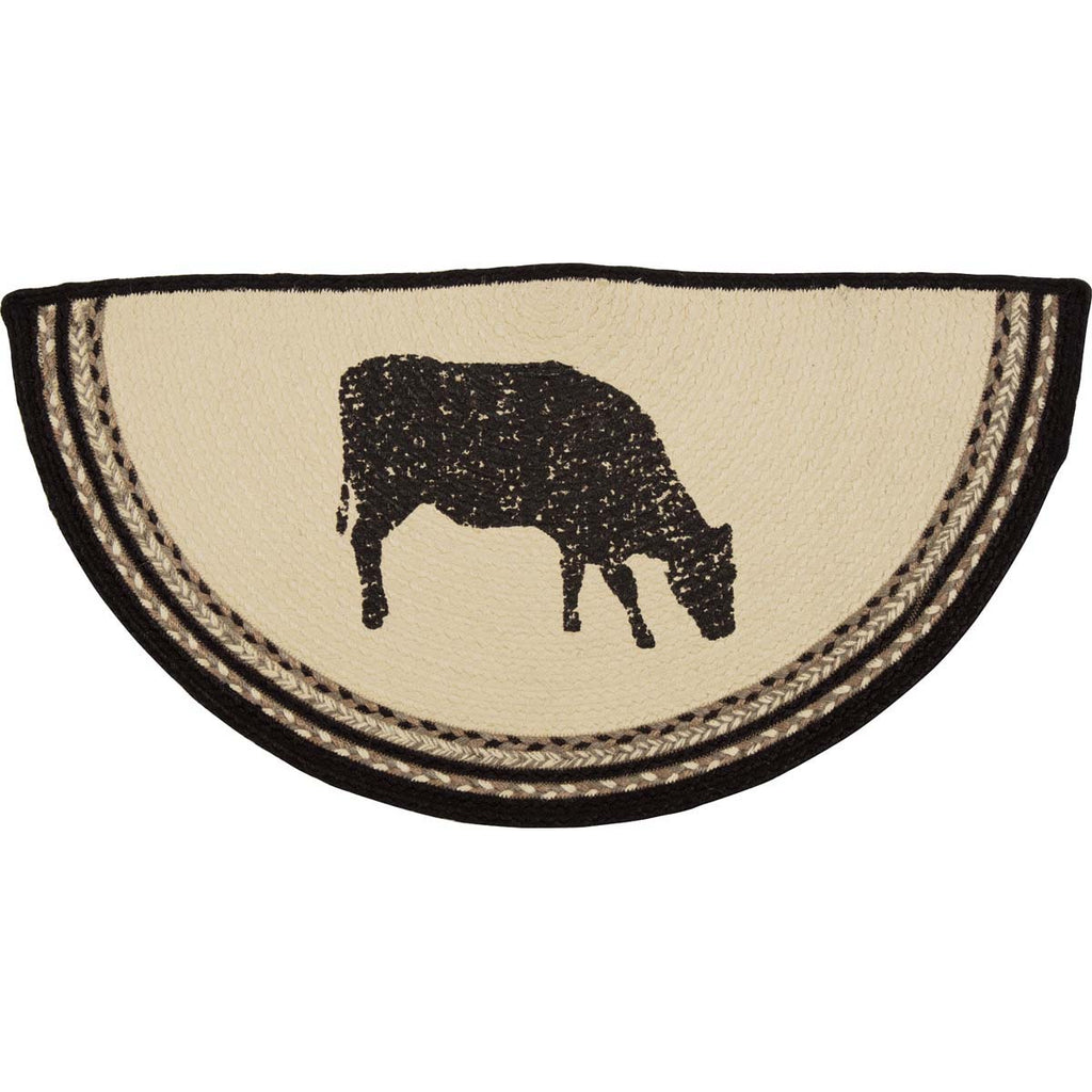 Sawyer Mill Charcoal Cow Jute Rug Half Circle 16.5x33