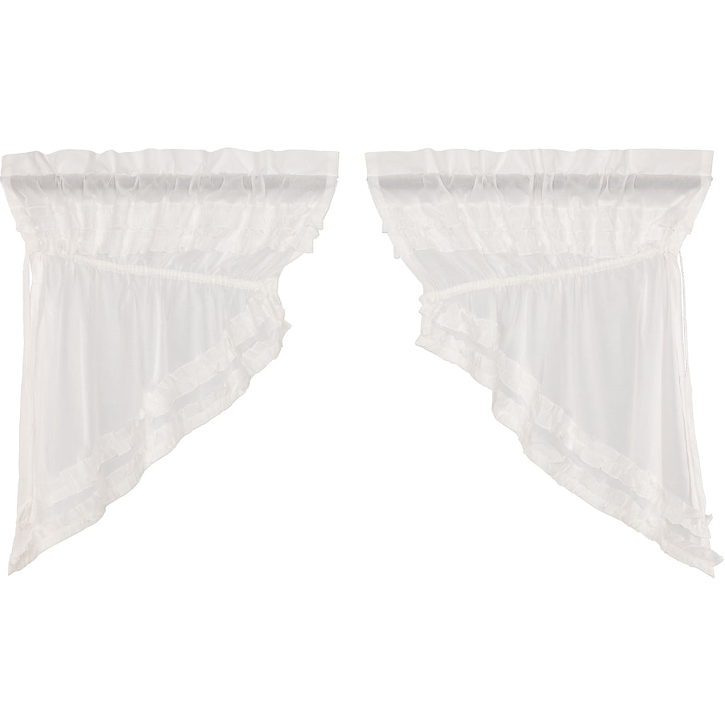 White Ruffled Sheer Petticoat Prairie Swag Set of 2 36x36x18