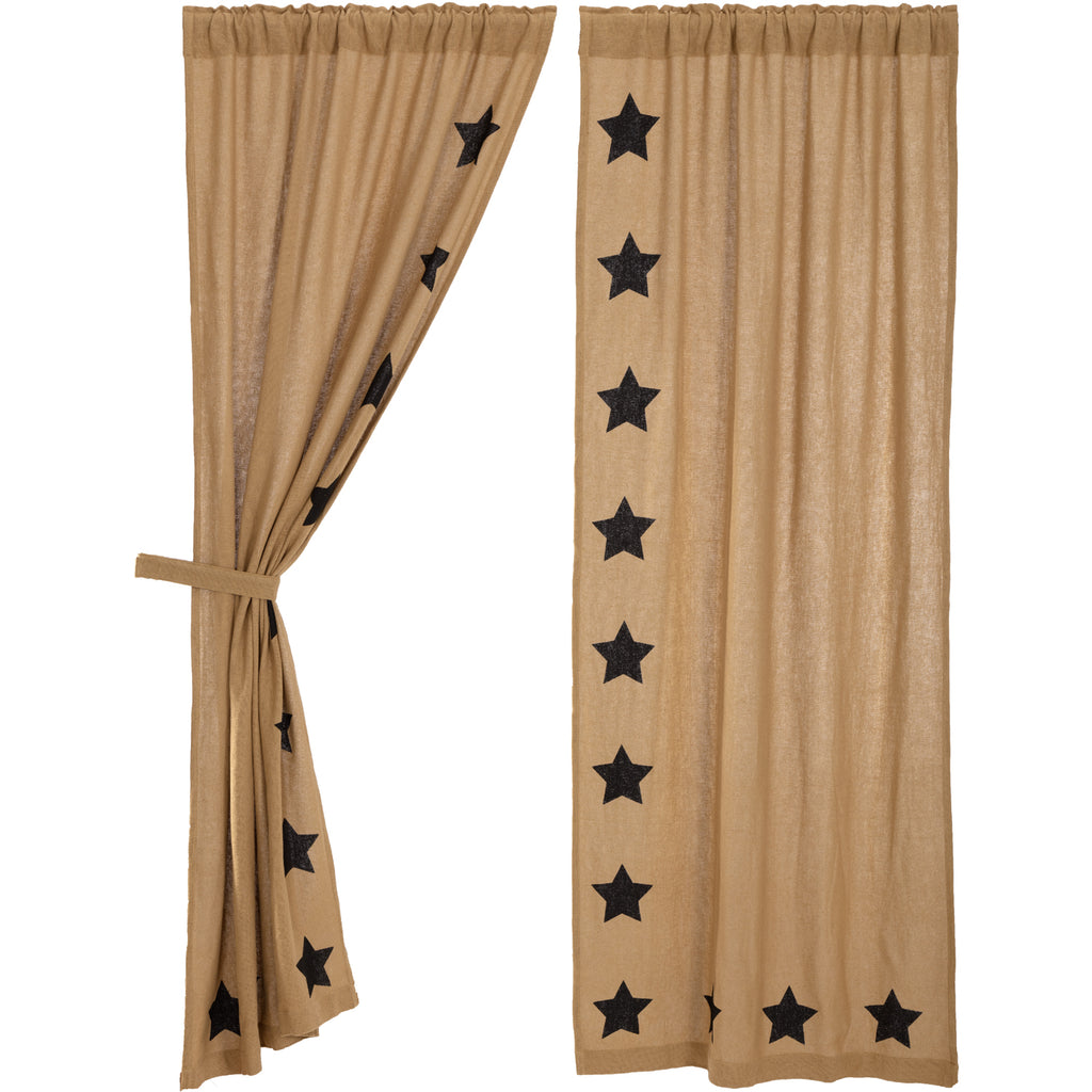 Burlap w/Black Stencil Stars Panel Set of 2 84x40