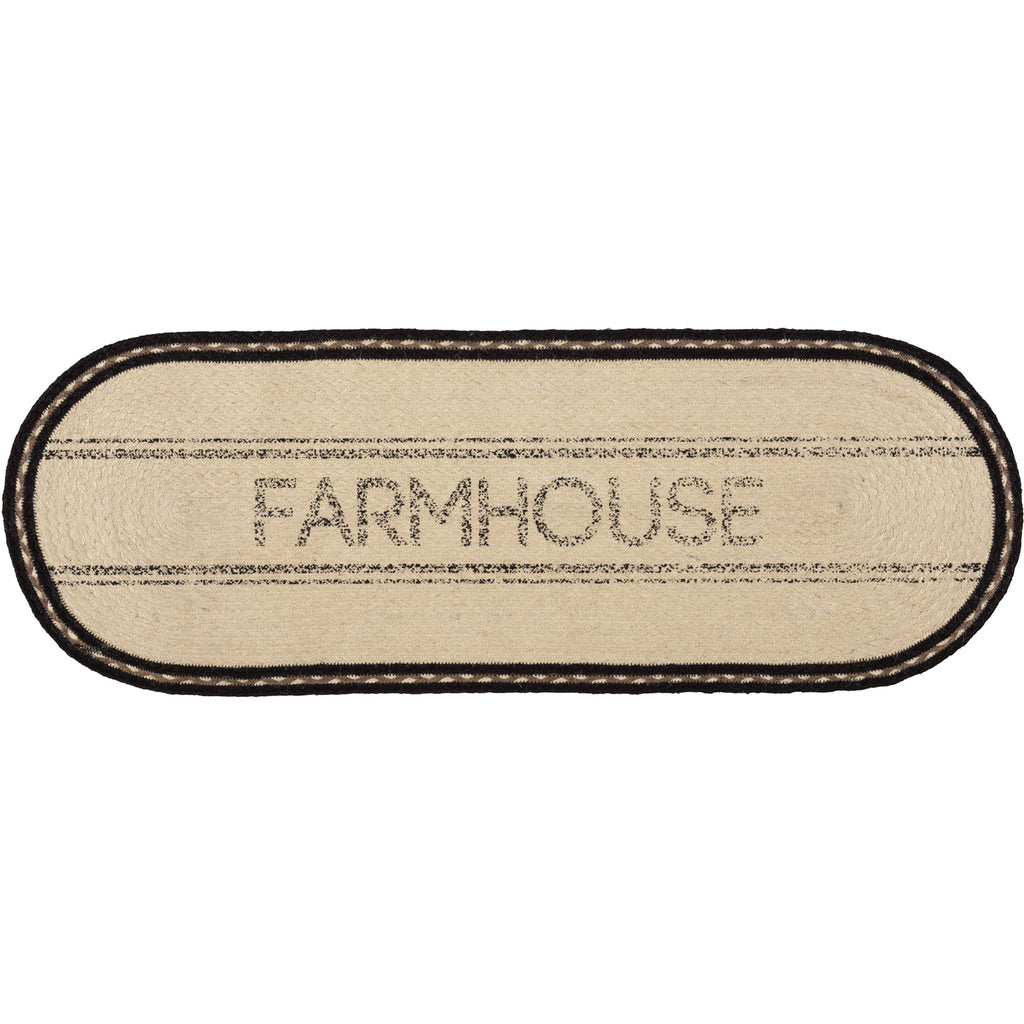 Sawyer Mill Charcoal Farmhouse Jute Runner 13x36