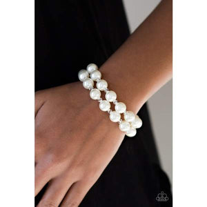 Paparazzi BALLROOM and Board White Bracelet
