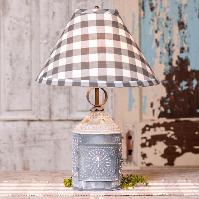 Paul Revere Lamp with Grey Check Shade