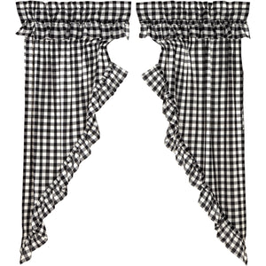 Annie Buffalo Black Check Ruffled Prairie Short Panel Set of 2 63x36x18