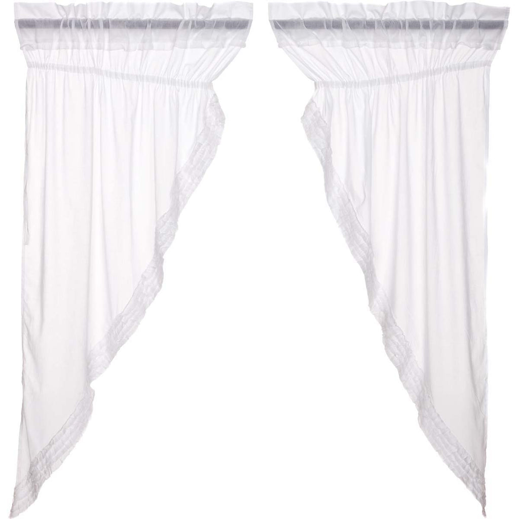 White Ruffled Sheer Prairie Short Panel Set 2 63x36x18