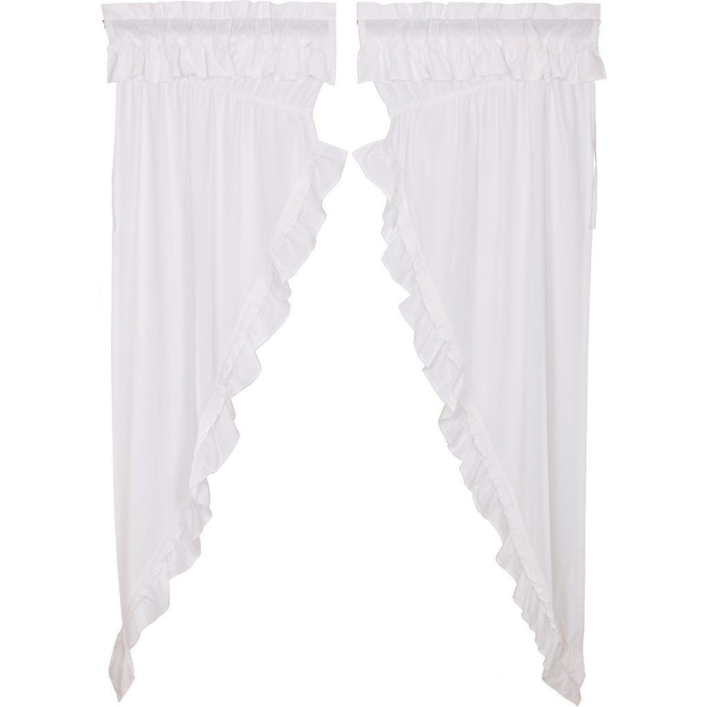 Muslin Ruffled Bleached White Prairie Long Panel Set of 2 84x36x18