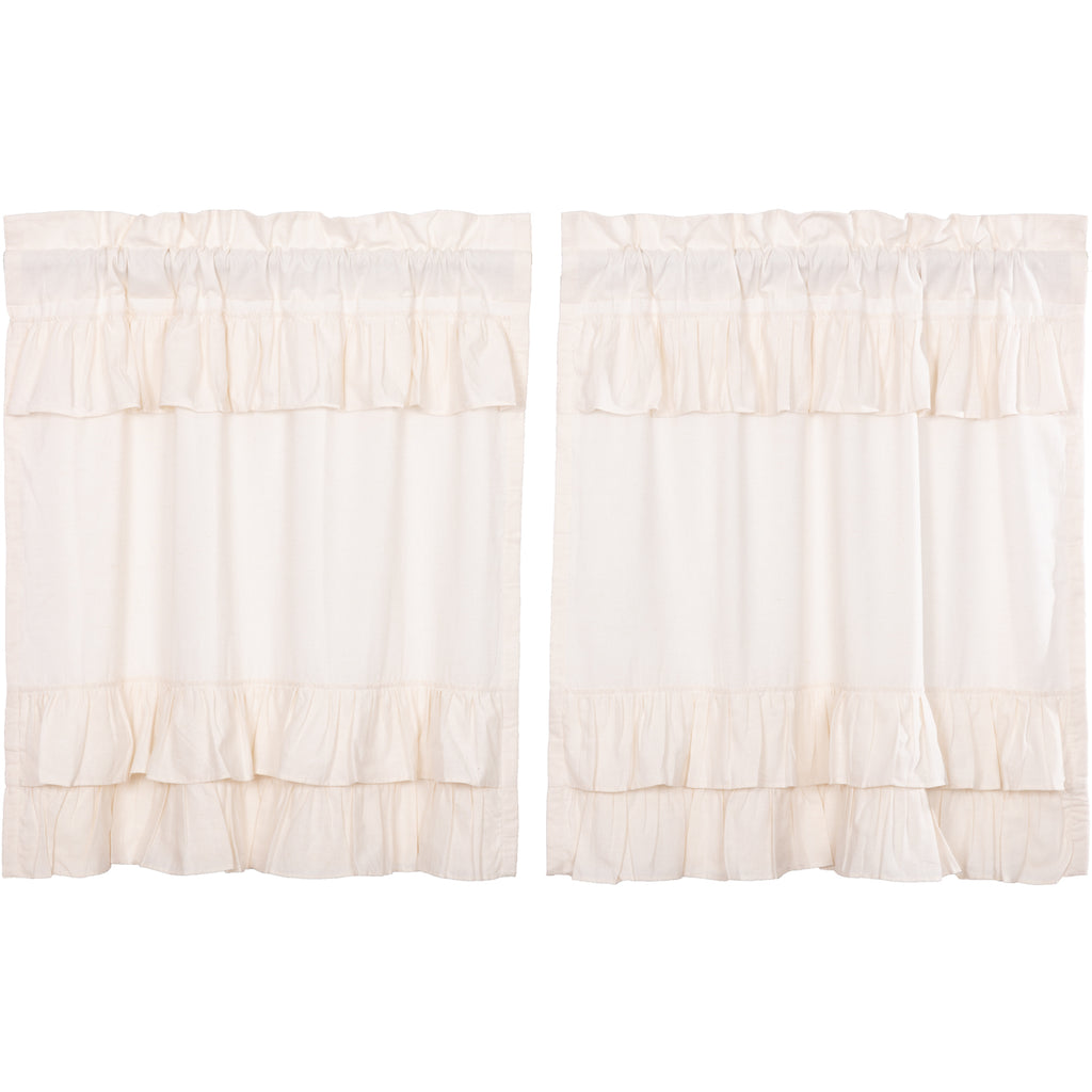 Simple Life Flax Antique White Ruffled Tier Set of 2 L36xW36