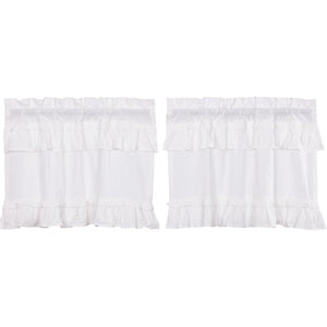 Muslin Ruffled Bleached White Tier Set of 2 L24xW36