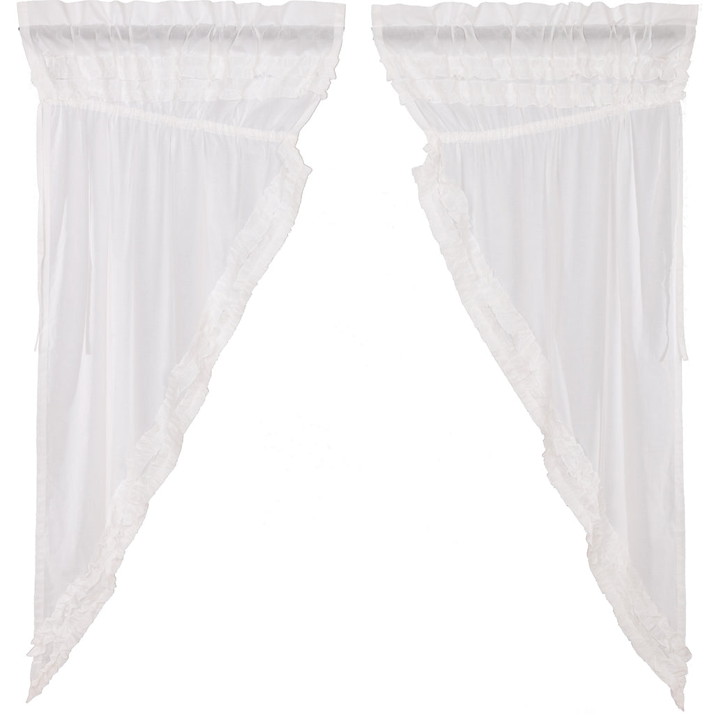 White Ruffled Sheer Petticoat Prairie Short Panel Set of 2 63x36x18