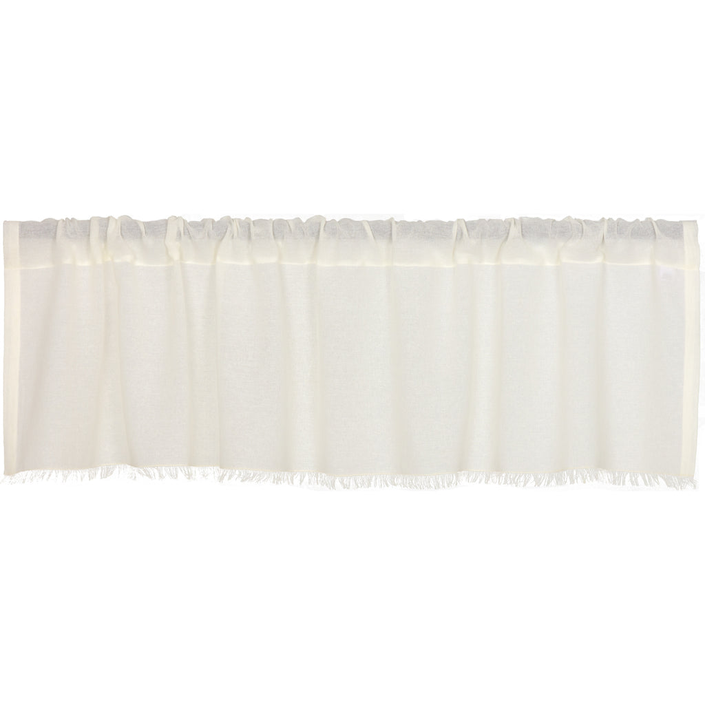Tobacco Cloth Antique White Valance Fringed 16x60