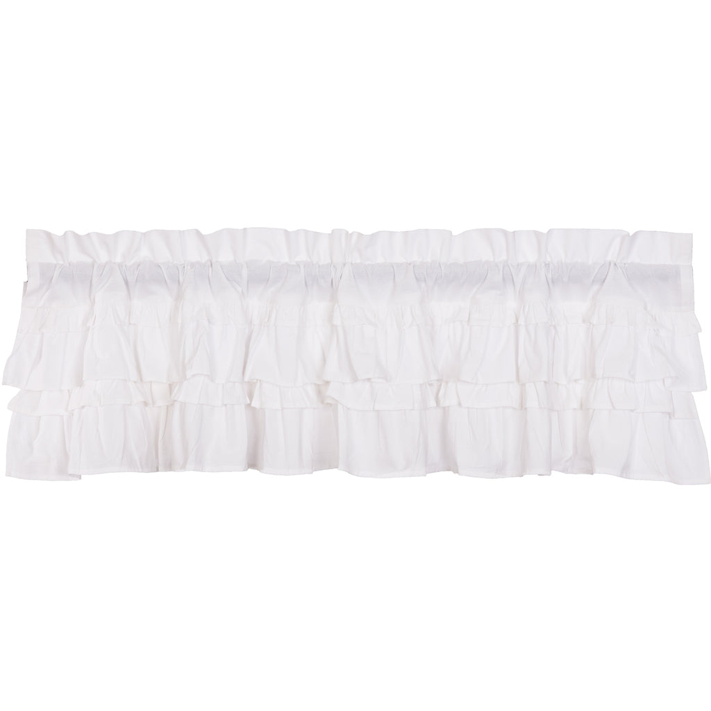 Muslin Ruffled Bleached White Valance 16x60