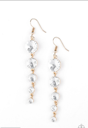 Paparazzi Raining Rhinestones Gold Earrings