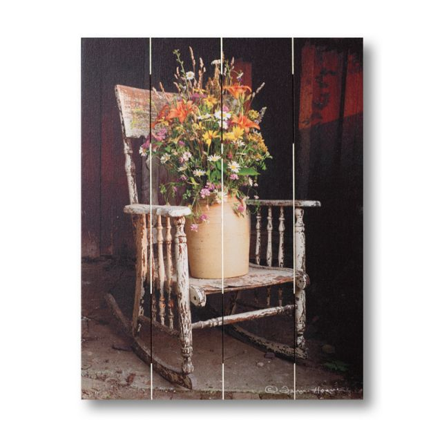 Farmhouse Pallet Wall Art ~ Rocking Chair Bouquet by Irvin Hoover