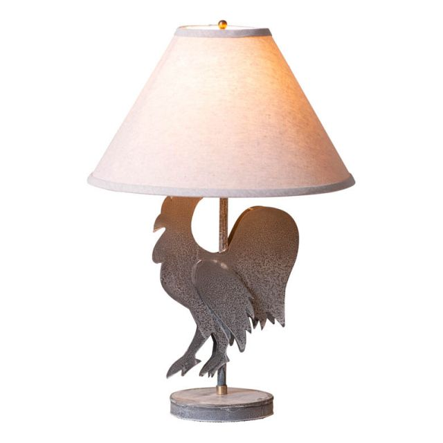 Rooster Lamp with Ivory Linen Shade