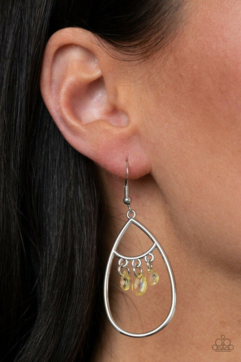 Paparazzi Shimmer Advisory - Yellow Earrings