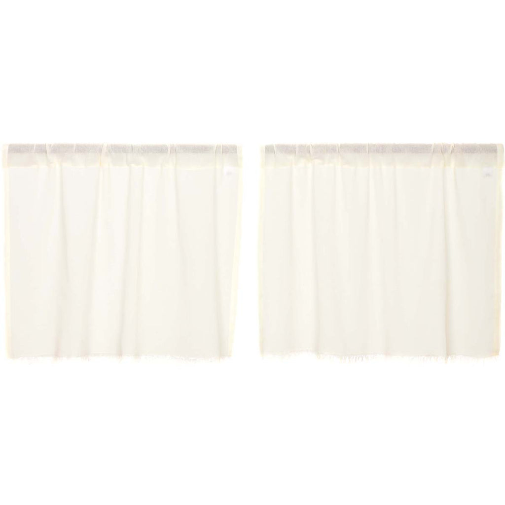 Tobacco Cloth Antique White Tier Fringed Set of 2 L24xW36