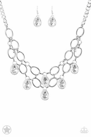 Paparazzi Show-Stopping Shimmer White Necklace BLOCKBUSTER