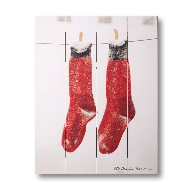 Farmhouse Pallet Wall Art ~ Snowy Monday Red Socks by Irvin Hoover
