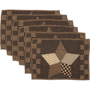 Farmhouse Star Placemat Quilted Set of 6 12x18