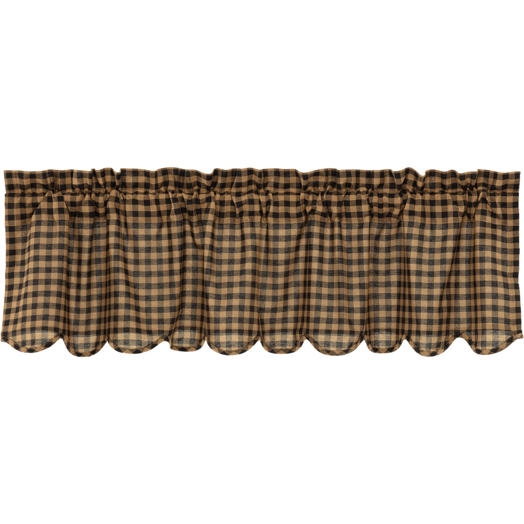 Black Check Scalloped Valance 16x60