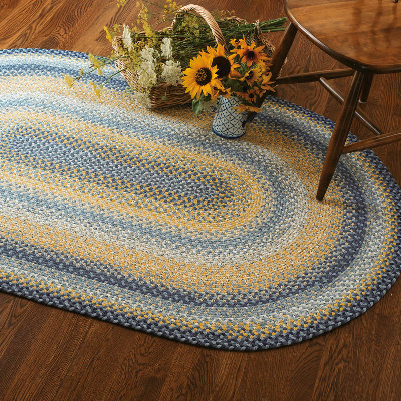 Sunflowers Blue - Gold Cotton Braided Rug Collection