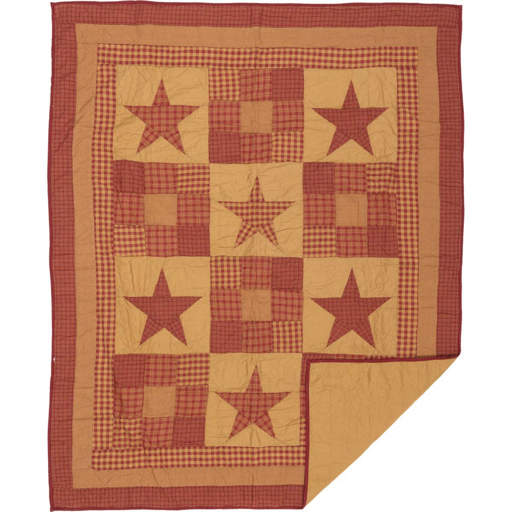 Ninepatch Star Quilted Throw 60x50