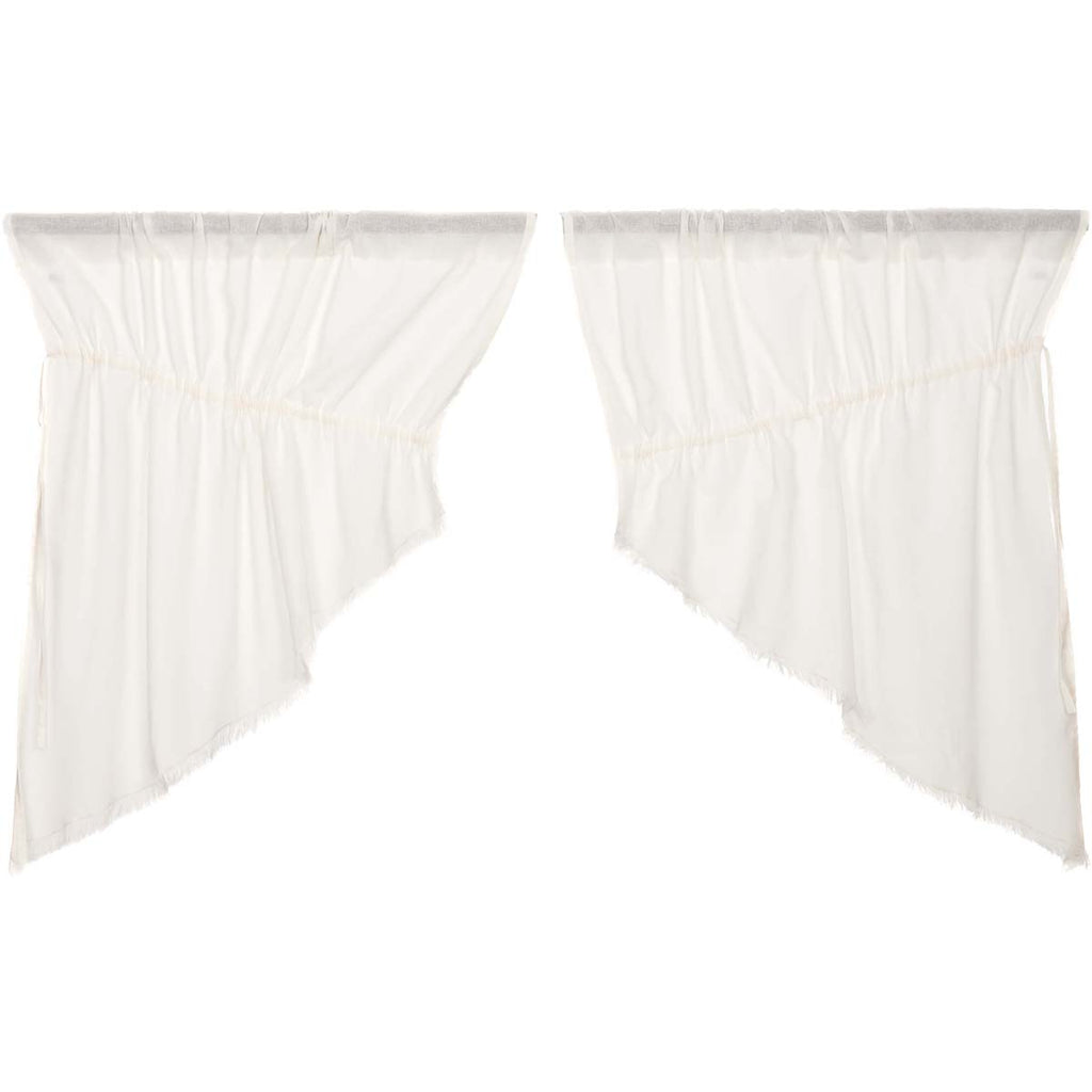 Tobacco Cloth Antique White Prairie Swag Fringed Set of 2 36x36x18