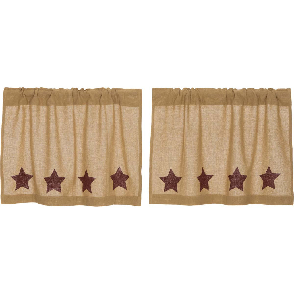 Burlap w/Burgundy Stencil Stars Tier Set of 2 L24xW36